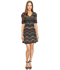 M Missoni Lurex Ripple V Neck Short Sleeve Dress Black Women's Dress