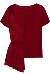 Maison Martin Margiela Mm6 Asymmetric Crepe And Smocked Satin Top Claret