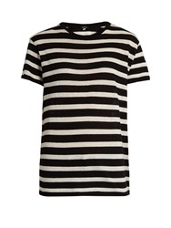 R 13 Striped Boyfriend Fit T Shirt Black White