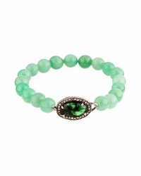 Bavna Green Agate Emerald And Diamond Beaded Stretch Bracelet