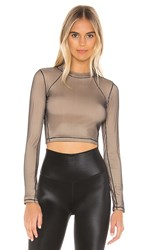 Alo Yoga Vision Long Sleeve Top In Cream. Black And Nude