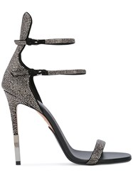 Balmain Crystal Embellished Sandals Black