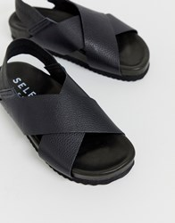 Selected Femme Leather Cross Over Strap Chunky Sandals Black