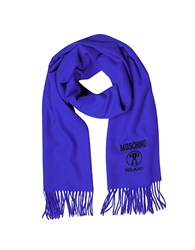 Moschino Solid Wool Logo Long Scarf W Fringe Blue