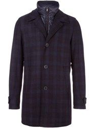 Herno Plaid Single Breasted Coat Blue