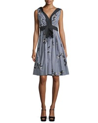 Marc Jacobs Floral Gingham V Neck Dress Black Multi