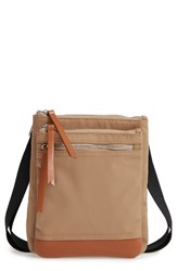 Lodis Zora Rfid Nylon And Leather Crossbody Bag Brown Light Brown