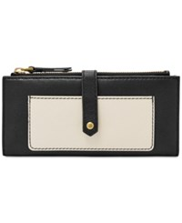 Fossil Keely Tab Clutch Black White