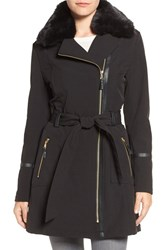 Via Spiga Women's Detachable Faux Fur Collar Belted Soft Shell Coat Black