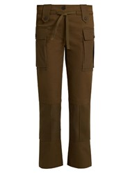 Alexander Mcqueen Patch Pocket Straight Leg Cotton Twill Trousers Khaki