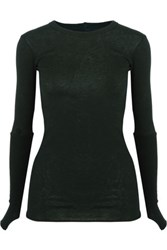 Enza Costa Rib Paneled Cotton And Cashmere Blend Top Forest Green