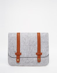 Asos Melton Ipad Case In Gray With Tan Faux Leather Strap Gray