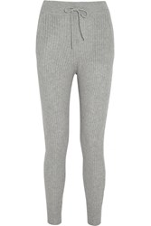 Alexander Wang Ribbed Wool And Cashmere Blend Skinny Pants Gray