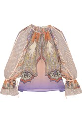 Etro Printed Silk Chiffon And Fil Coupe Blouse Pink