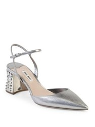 Miu Miu Jeweled Heel Metallic Leather Pumps Cromo
