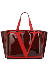 Valentino Garavani Vlogo Polymeric And Leather Tote Bag Ruby