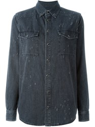 Givenchy Distressed Denim Shirt Grey