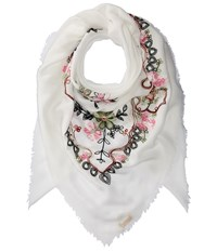 Collection Xiix Swirly Floral Embroidered Square Neutral Scarves
