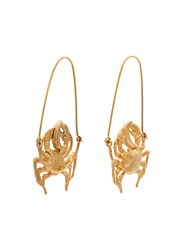 Givenchy Gold Tone Crab Earrings Metallic