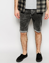 The Laundry Folk Denim Shorts Stretch Skinny Black Acid Wash Blackacidwash