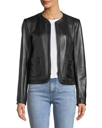 Rebecca Taylor Collarless Zip Front Leather Moto Jacket Black
