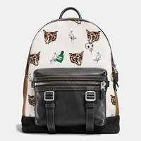 Coach Flag Backpack In Fox And Bunny Print Pebble Leather Sft Wht Ffb Blk