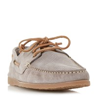 Bertie Beach Suede Lace Up Boat Shoes Taupe