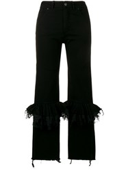 Preen By Thornton Bregazzi Ruffle Knee Flared Jeans Women Cotton Polyamide Viscose M Black
