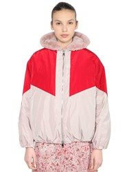 Giamba Oversized Nylon And Faux Fur Bomber Jacket Pink Red