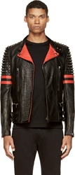 Diesel Black Gold Black And Red Leather Studded Likol Biker Jacket