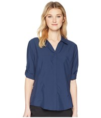 Royal Robbins Expedition Chill Stretch 3 4 Sleeve Top Deep Blue Long Sleeve Button Up