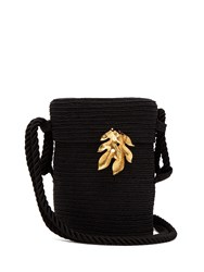 Rebecca De Ravenel Farida Straw Bag Black