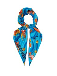 Vetements Halloween Print Silk Scarf Blue