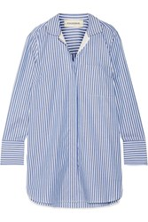 By Malene Birger Anafrina Silk Trimmed Striped Cotton Poplin Shirt Blue