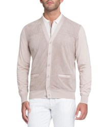 Stefano Ricci Perforated Suede Panel Cardigan Light Beige