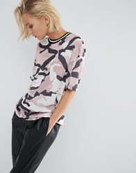 Asos T Shirt In Longline Fit With Stripe Tipping In Camo Print Mesh Multi