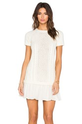 Red Valentino Cable Knit Sweater Dress Cream