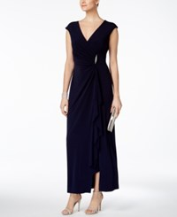 Connected Ruched Faux Wrap Gown Navy