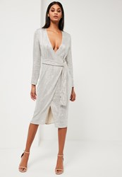 Missguided Silver Sequin Long Sleeve Wrap Midi Dress