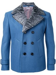 Thom Browne Double Breasted Classic Lapels Coat Blue