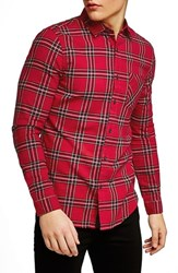 Topman Muscle Fit Tartan Check Shirt Red Multi