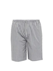 Zimmerli Checked Cotton Pyjama Shorts Navy