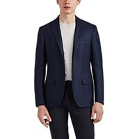 Sartorio Plaid Wool Linen Two Button Sportcoat Navy