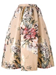 Fendi Baroque Flower Midi Skirt Pink