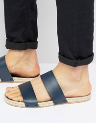 Asos Sandals In Blue Leather With Jute Espadrille Sole Navy