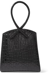 Little Liffner Twisted Croc Effect Leather Tote Black