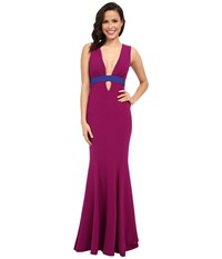 Nicole Miller Viola Color Block Gown Byzantium Royal Navy Women's Dress Pink