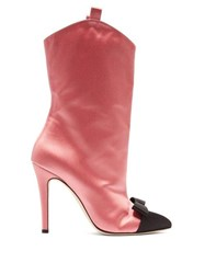 Alessandra Rich Bow Front Point Toe Satin Ankle Boots Pink Multi