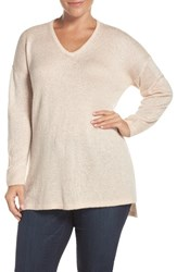 Sejour Plus Size Women's Sequin V Neck Sweater