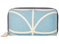 Orla Kiely Matt Laminated Giant Linear Stem Print Big Zip Wallet Sky Blue Wallet Handbags